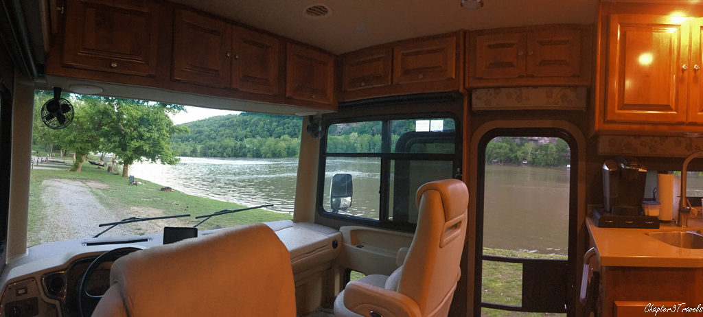 view from inside RV showing river