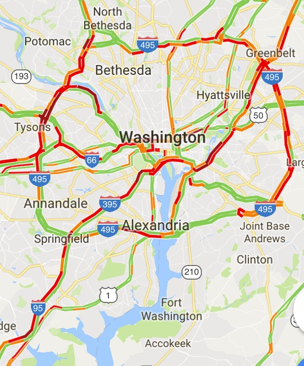 Traffic map of Metro DC area