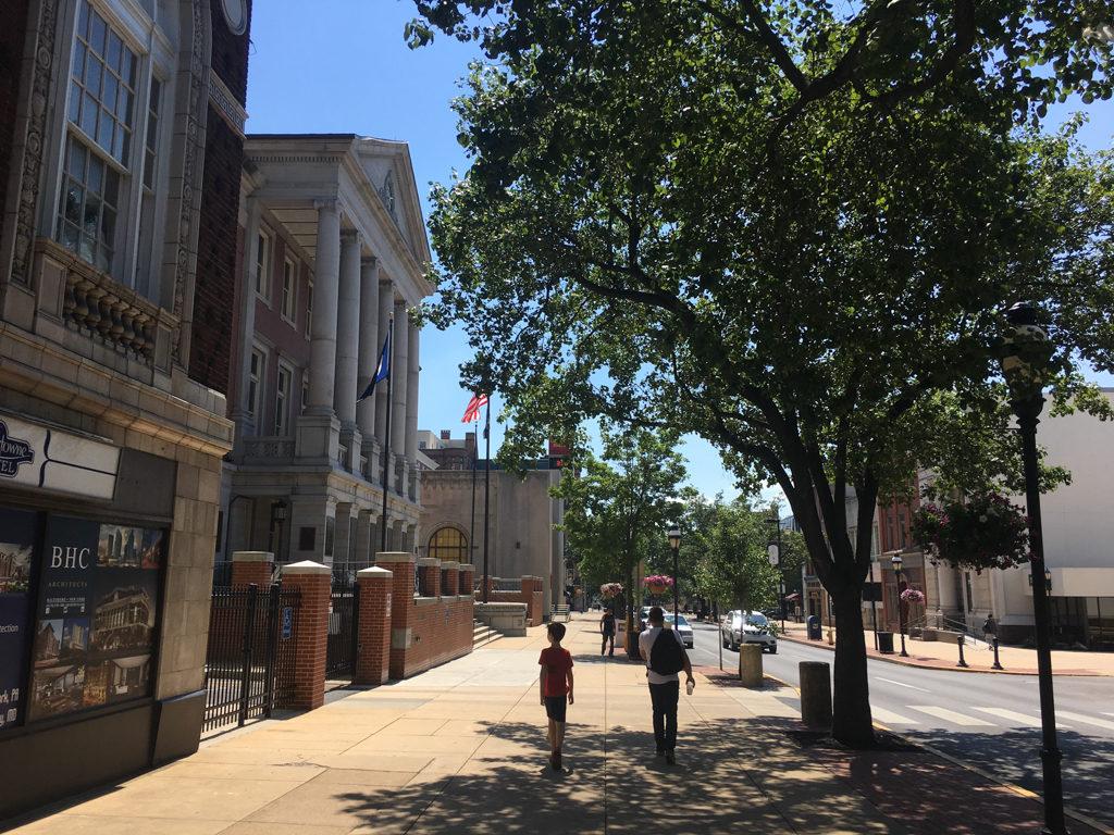 Lightly traveled sidewalks in York, Pennsylvania.