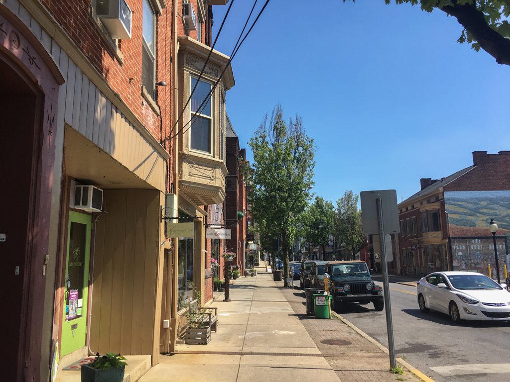 Empty sidewalks in York, Pennsylvania