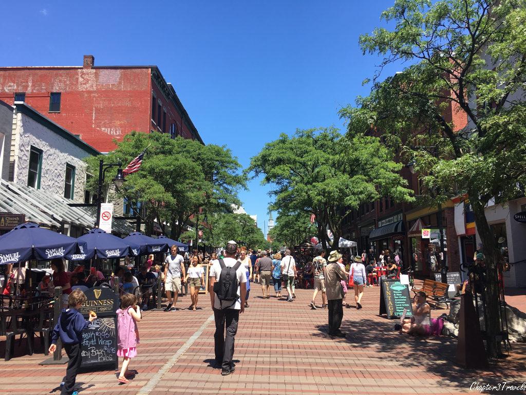 The downtown pedestrian mall in Burlington, Vermont