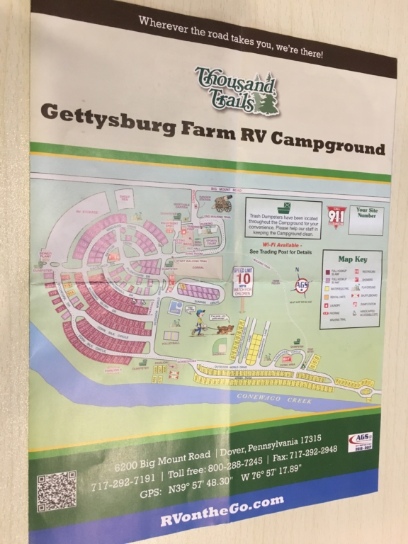 Map of Gettysburg Farm campground