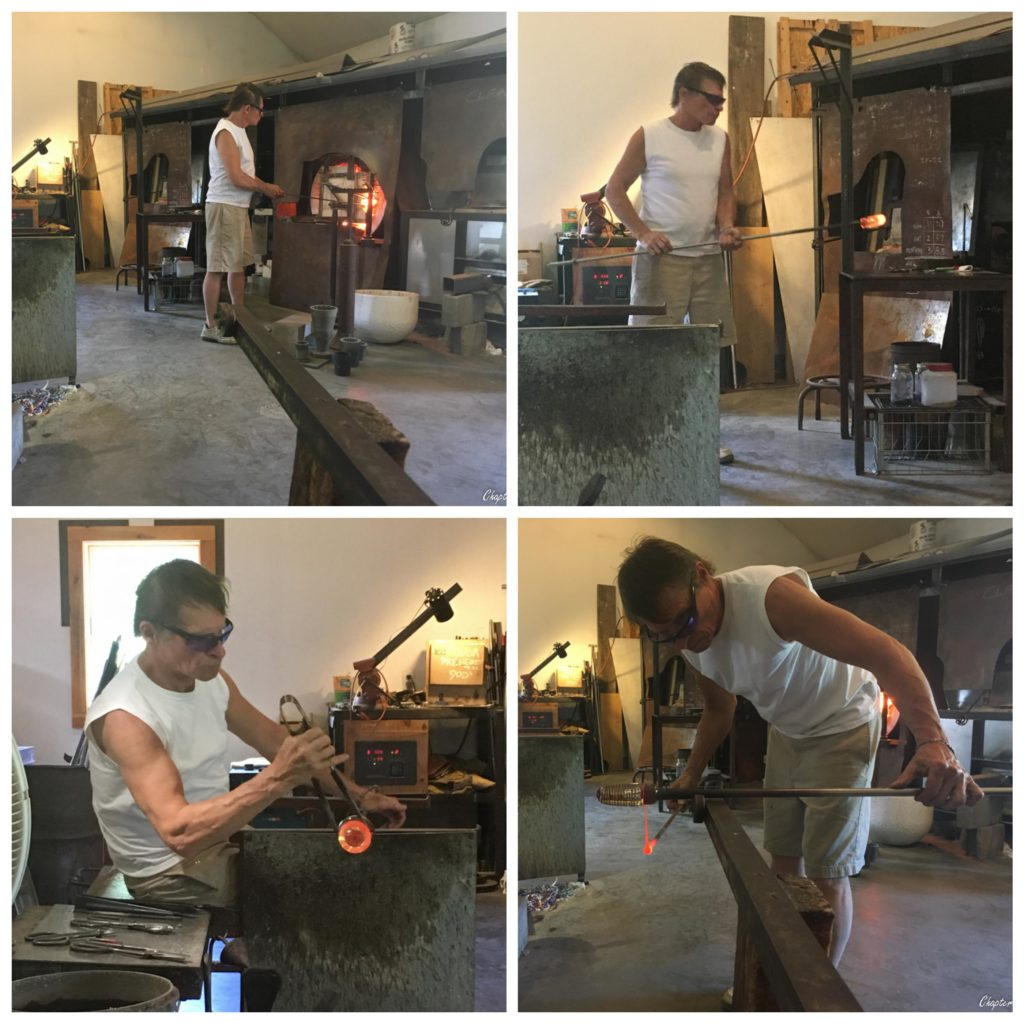 Collage of photos of Glenn Ziemke glass blowing studio in Stowe, Vermont