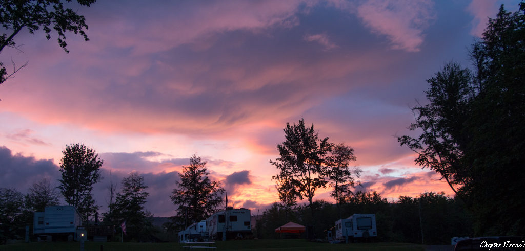 Sunset at Maplewoods Campground in Johnson, Vermont