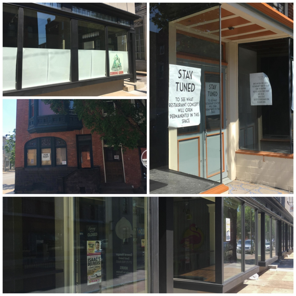 Collage of photos showing empty storefronts in York, Pennsylvania