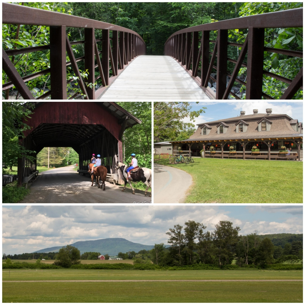 Collage of photos of the Stowe Recreation Path in Stowe, Vermont
