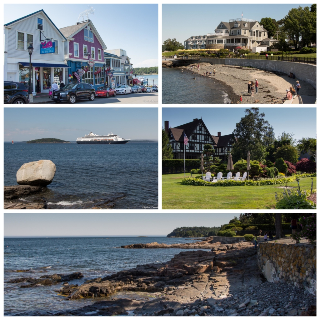 Collage of photos of Bar Harbor, Maine