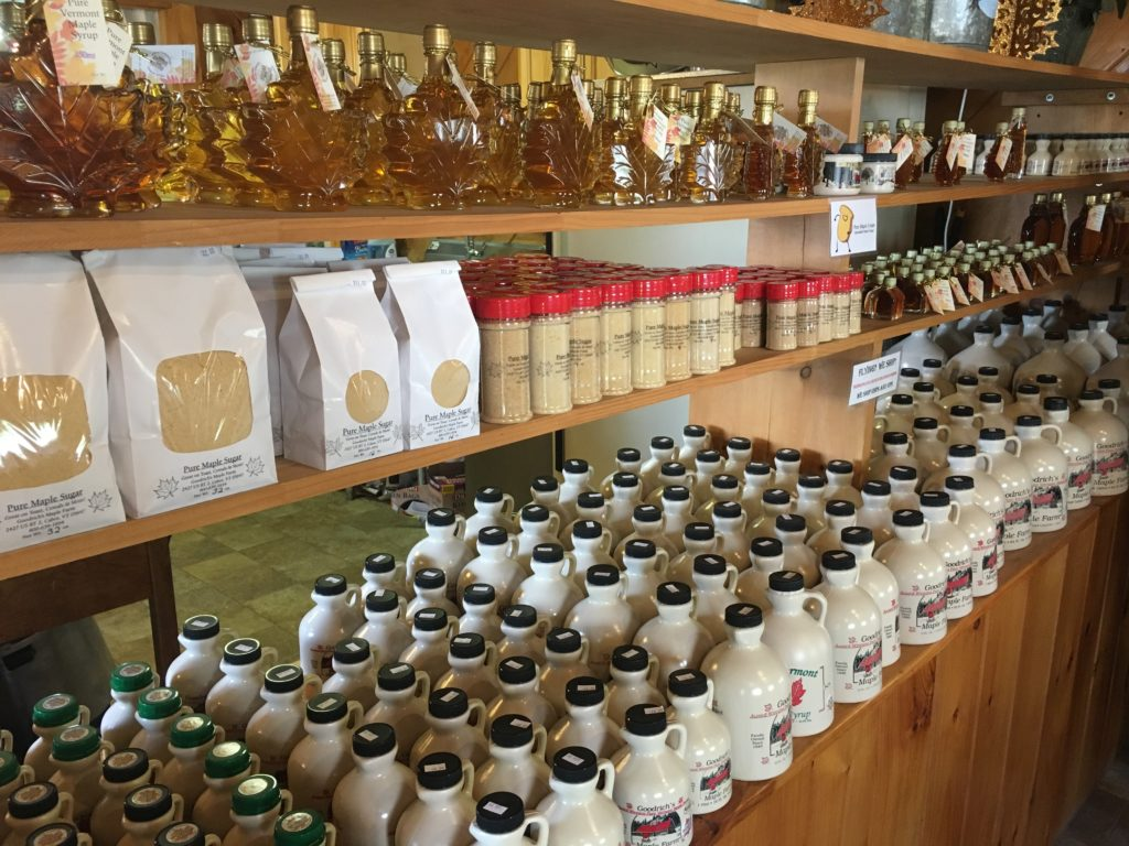 Maple syrup display in Vermont