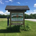 Sign for Maplewoods Campground in Johnson, Vermont