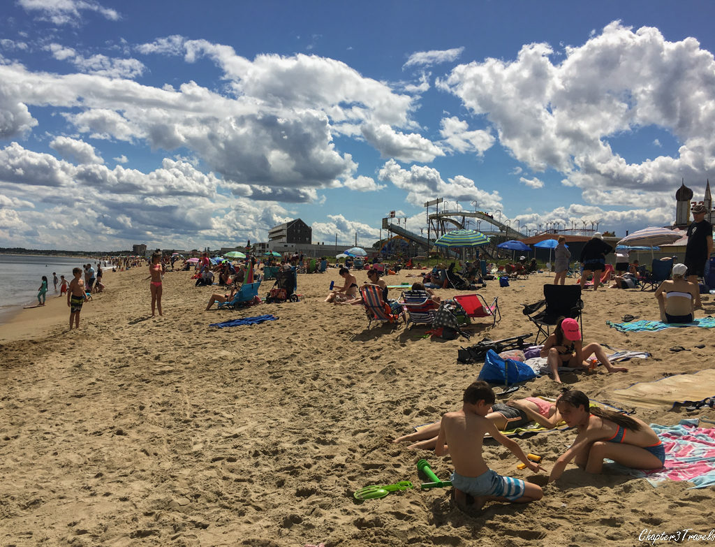 Crowded beach at Old Orchard Beach in Maine