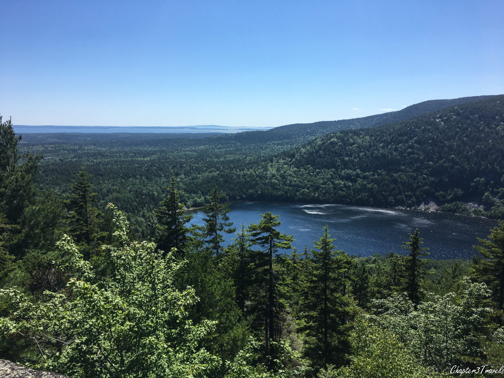 View of Echo Lake from Beech Mountain Trail at Acadia National Park