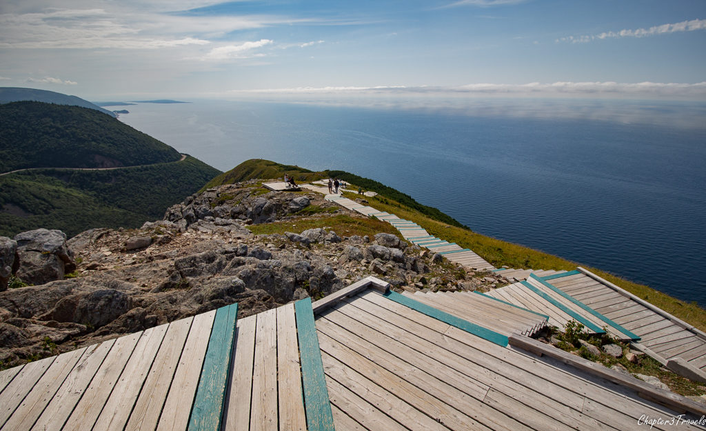 Boardwalk leading to the ocean on the Skyline Trail at Cape Breton Highlands National Park in Nova Scotia