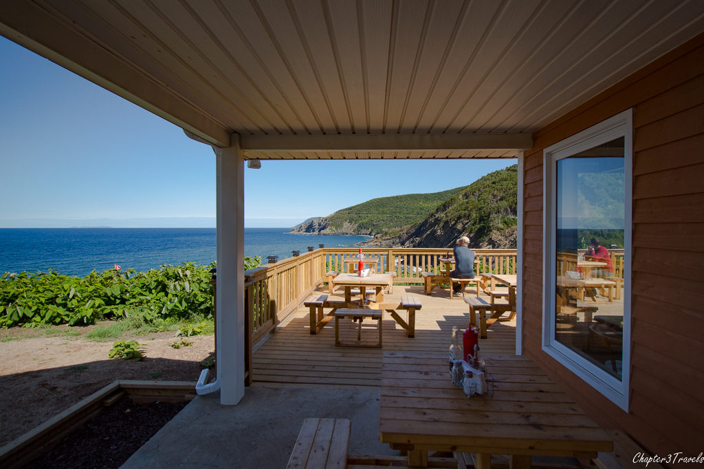 View of the porch and cliffs at the Chowder Hut at Meat Cove, Nova Scotia