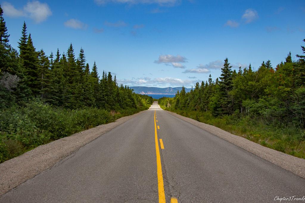 Long road in Cape Breton Island Nova Scotia