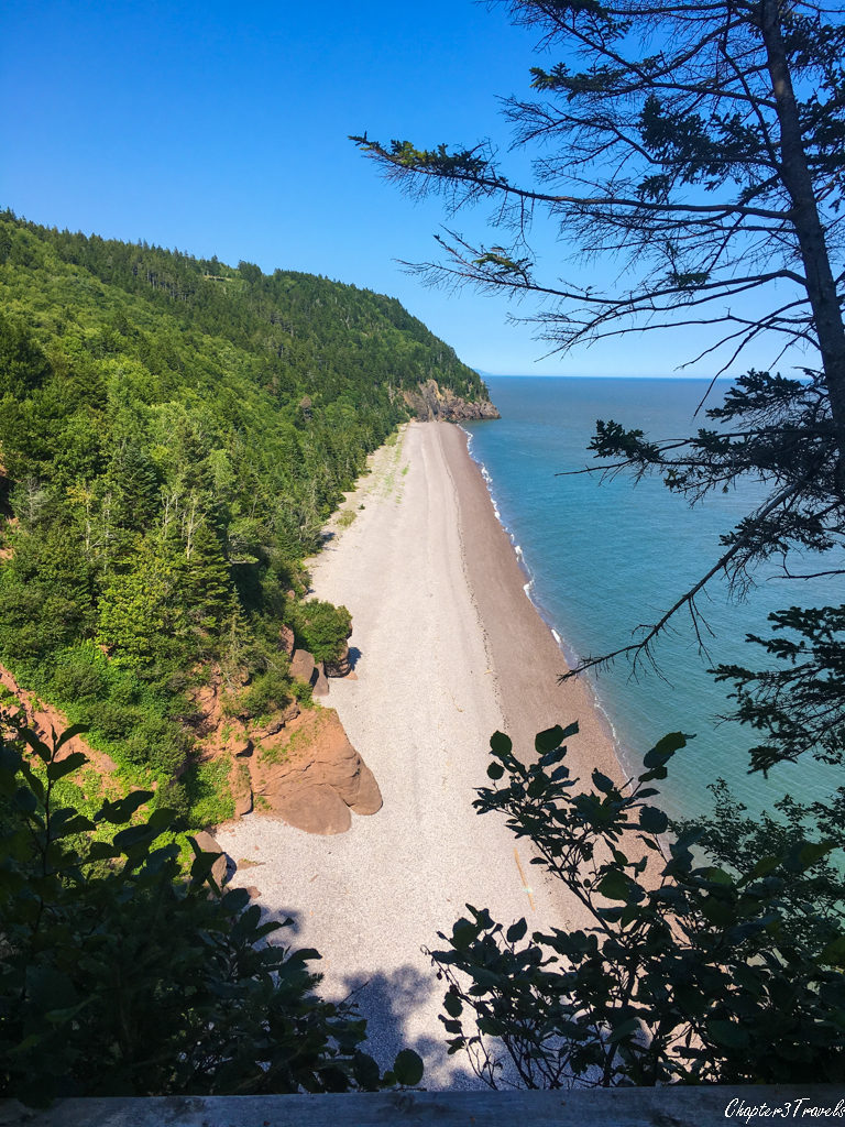 Empty beach at Fundy Trail park in New Brunswick, Canada