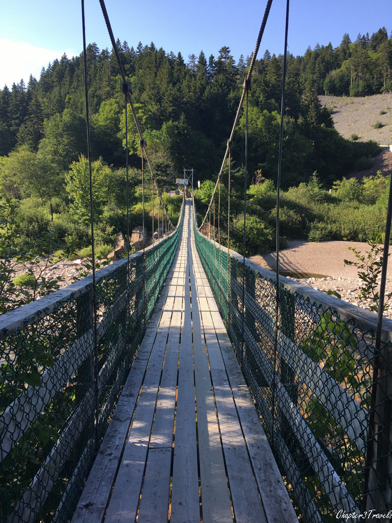 Suspension bridge over the Big Salmon River at Fundy Trail Park