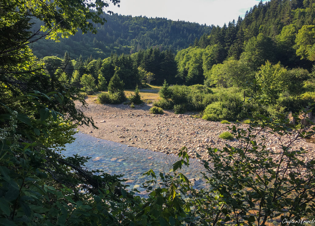 Views of Big Salmon River and mountains at Fundy Trail Park in New Brunswick