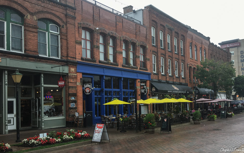 Victoria Row restaurants on a rainy day in Prince Edward Island