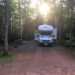 A campsite at New Glasgow Highlands Campground in Prince Edward Island