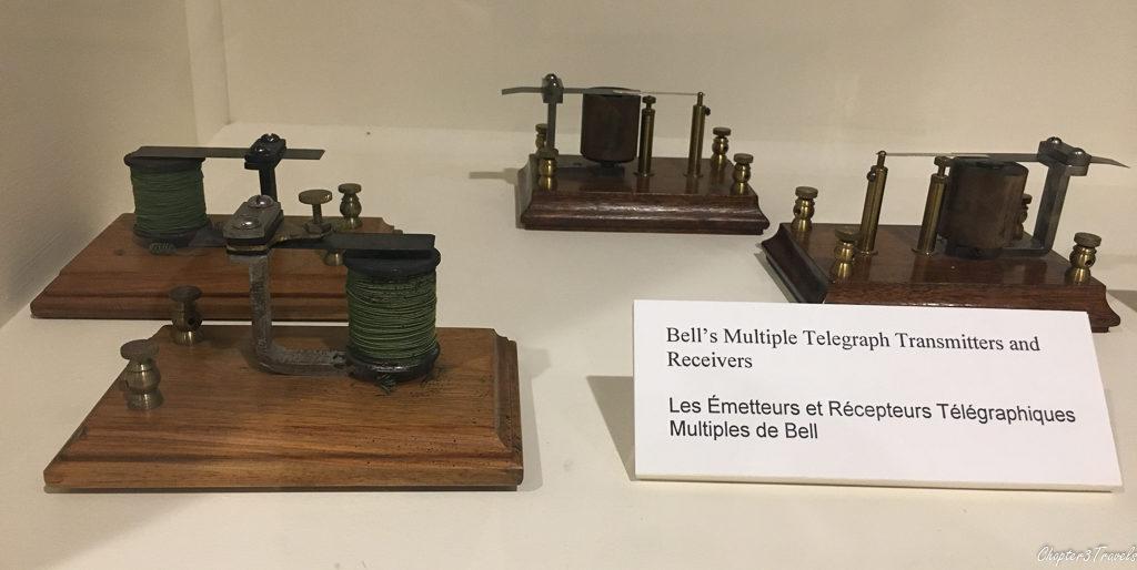 Museum display of telegraph transmitters at Alexander Graham Bell Museum in Baddeck, Nova Scotia