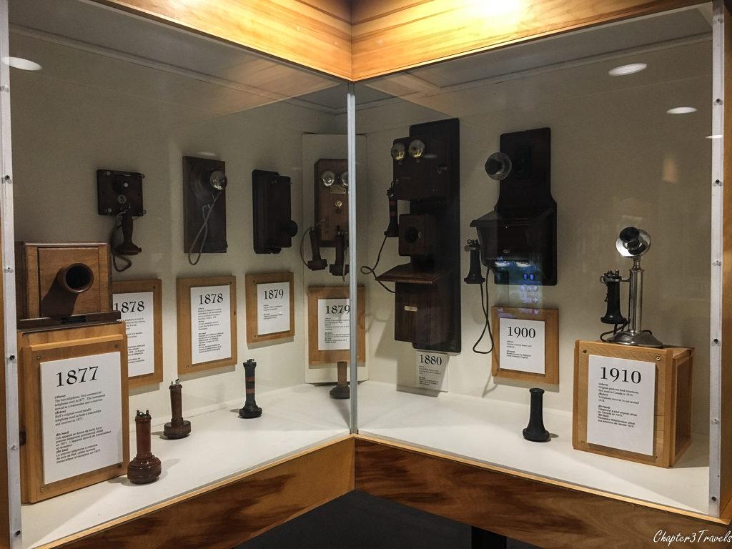 Museum display of old telephones at Alexander Graham Bell Museum in Baddeck, Nova Scotia