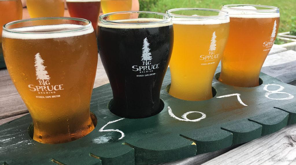 Flight of beers at Big Spruce Brewing in Cape Breton Island, Nova Scotia