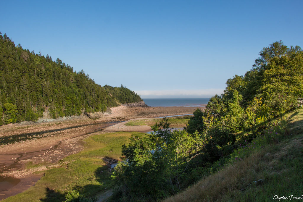 View of Big Salmon Rove from the back of the interpretive center at Fundy Trail Park