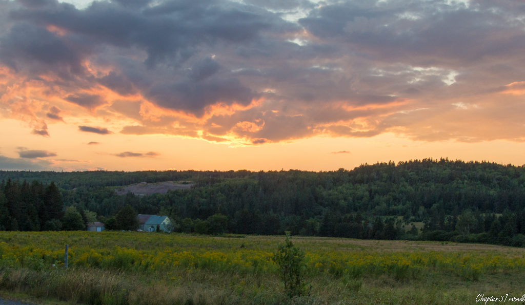 Sunset over farms in New Brunswick, Canada