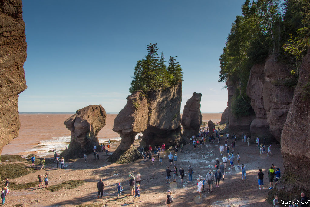 Hopewell Rocks Provincial Park , on the Bay of Fundy, near low tide