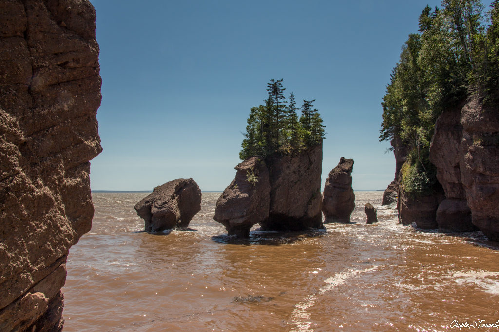 Hopewell Rocks Provincial Park , on the Bay of Fundy, near high tide