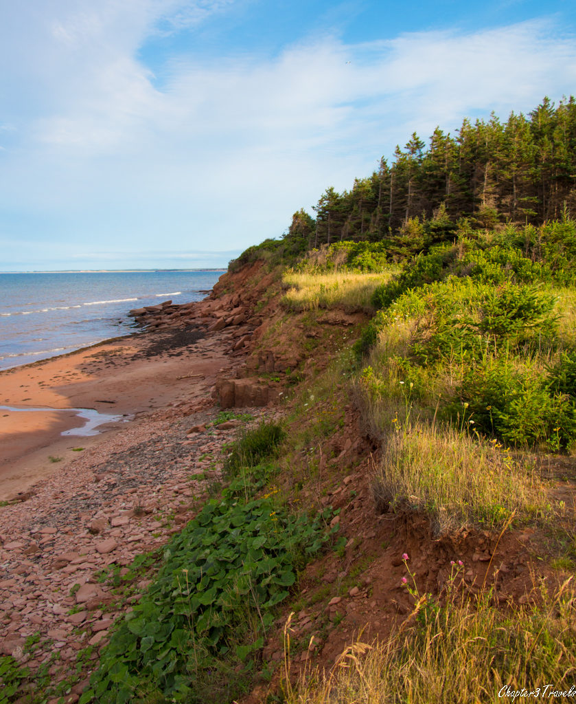 Cliffs and beach on Prince Edward Island at sunset