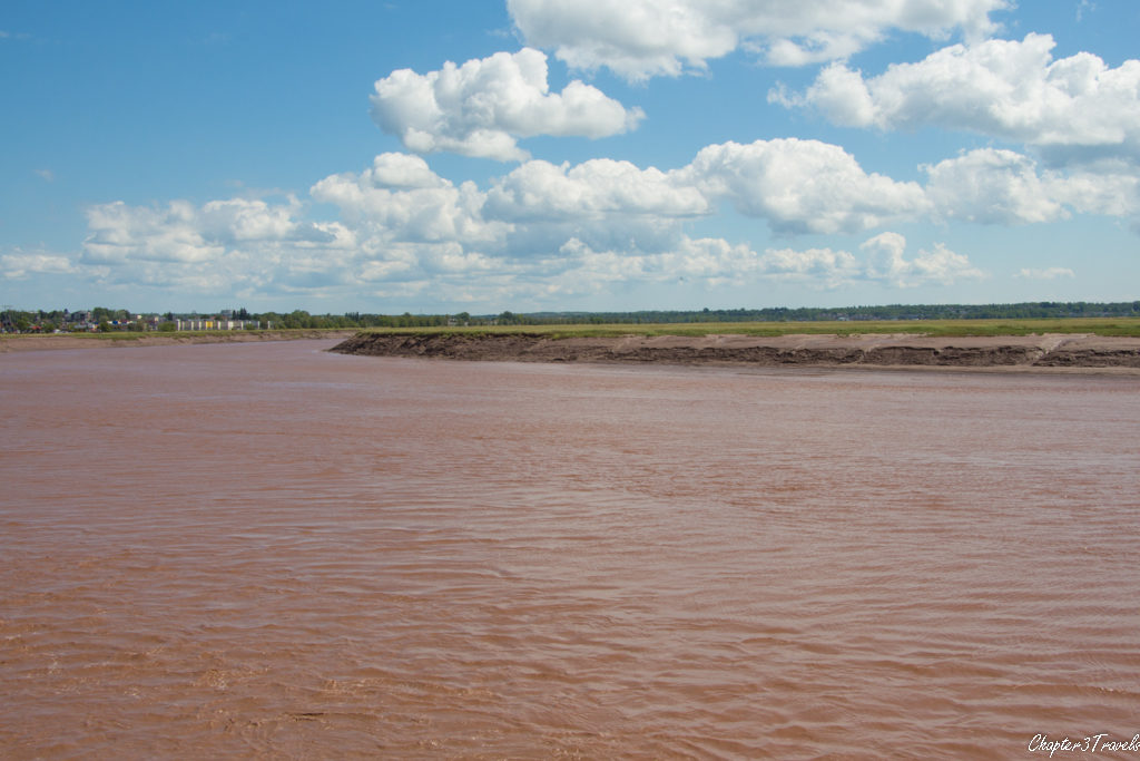 The Petitcodiac Rover in Moncton, New Brunswick, at the tide rises.