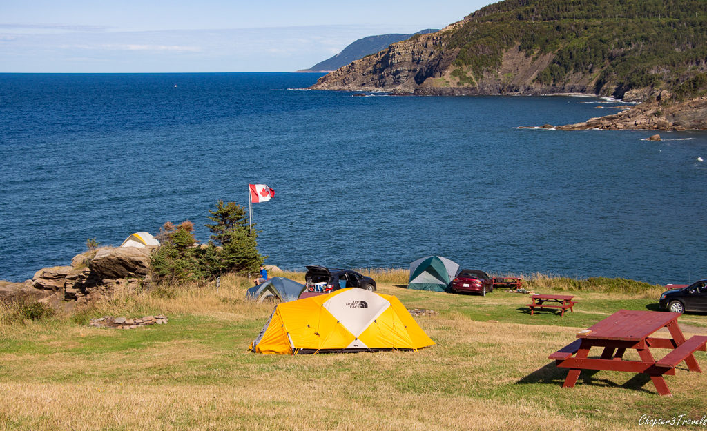 Tent campers at Meat Cove camping area in Cape Breton Island