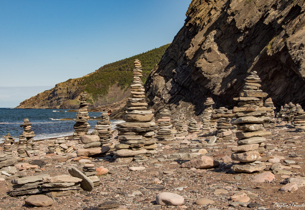 Beach full of stone markers at Cape Breton Island