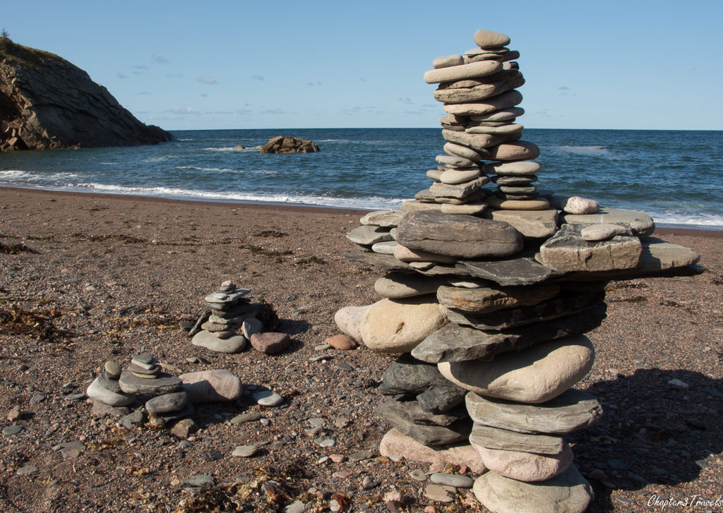 Stone cairns at Meat Cove, Cape Breton Island