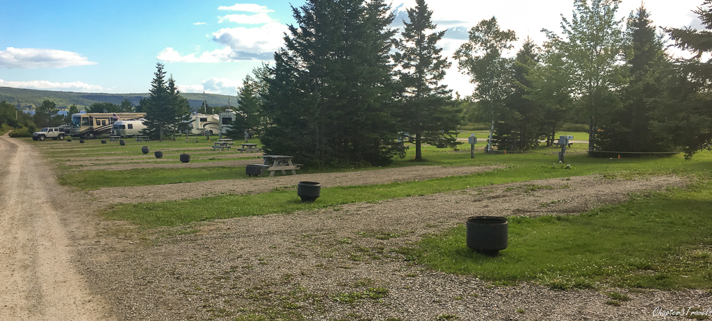 """A row of campsites at Bras d""""Or Lake Campground, Baddeck, Nova Scotia"""
