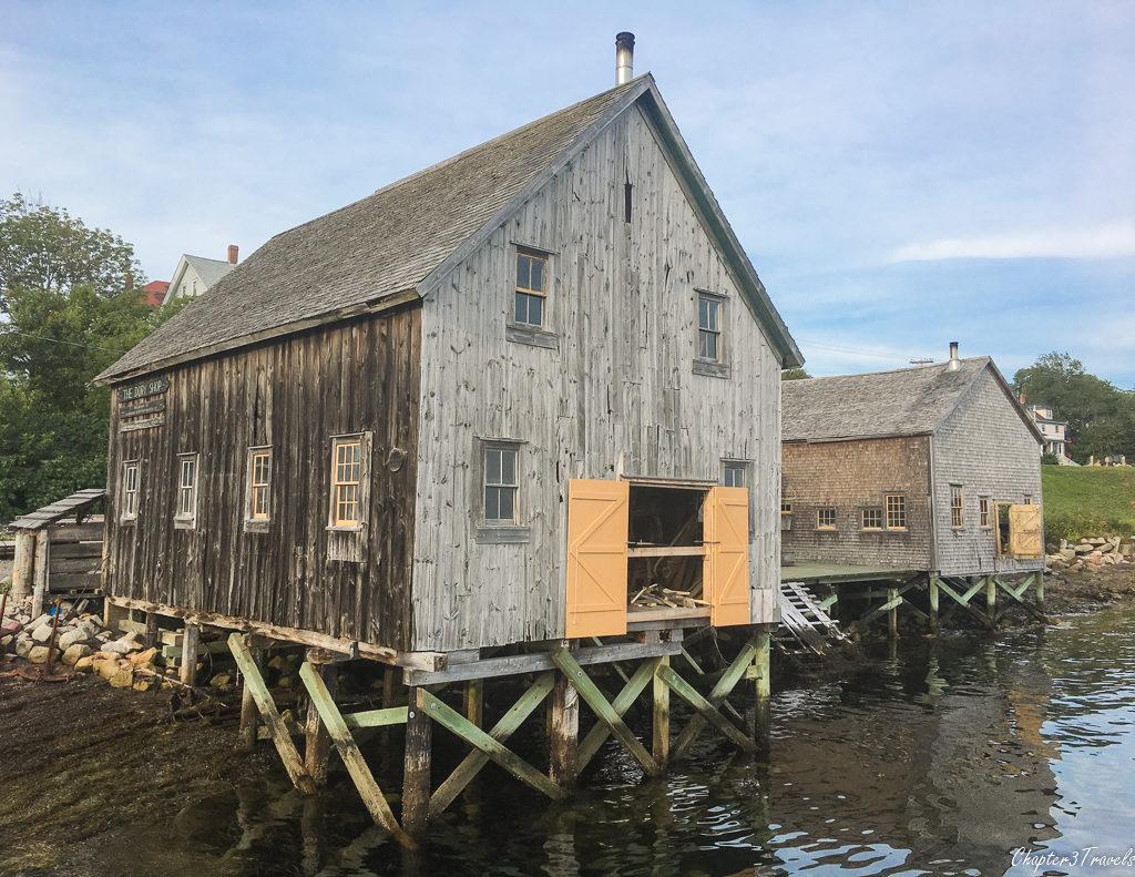 a dockside building in Lunenburg, Nova Scotia