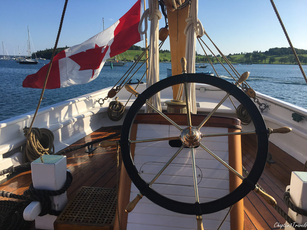 The wheel of the Bluenose II in Lunenburg, Nova Scotia