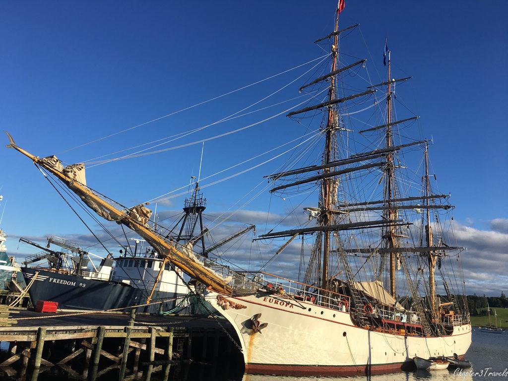 The Europe docked in Lunenburg, Nova Scotia