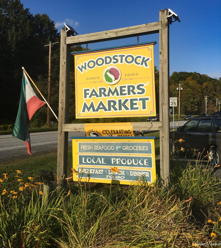 Sign for Woodstock Farmers Market in Quechee, Vermont