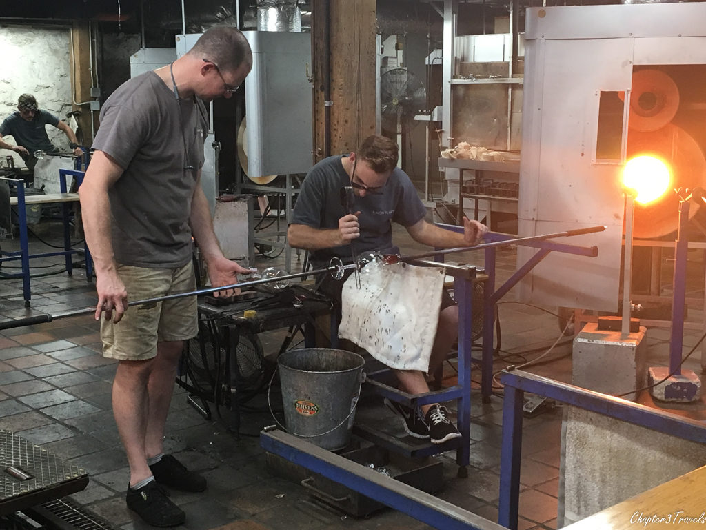 Glassblowing artists at Simon Pearce in Quechee, Vermont
