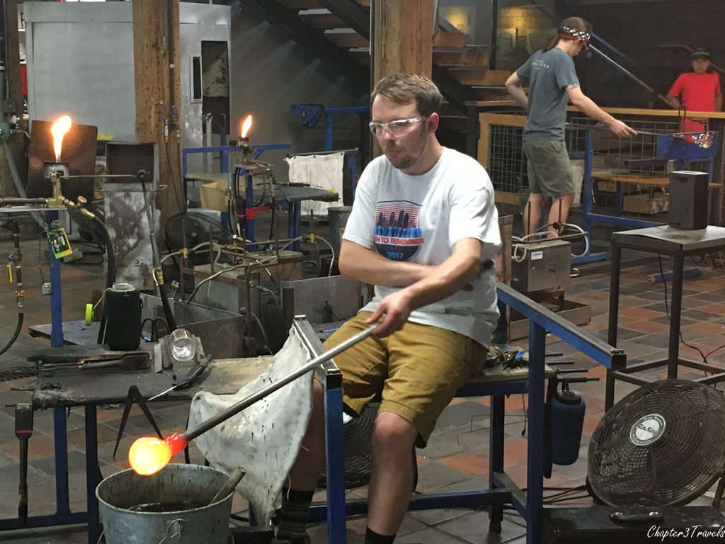 Glassblowing artist at Simon Pearce in Quechee, Vermont