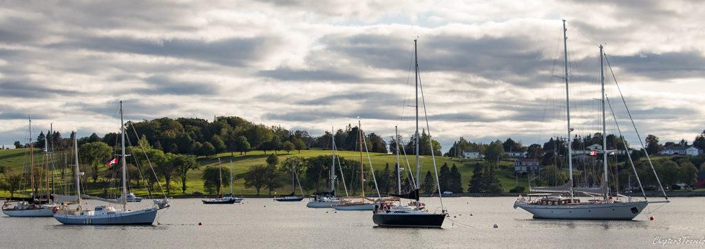 Sailboats anchored in the harbor in Lunenburg, Nova Scotia