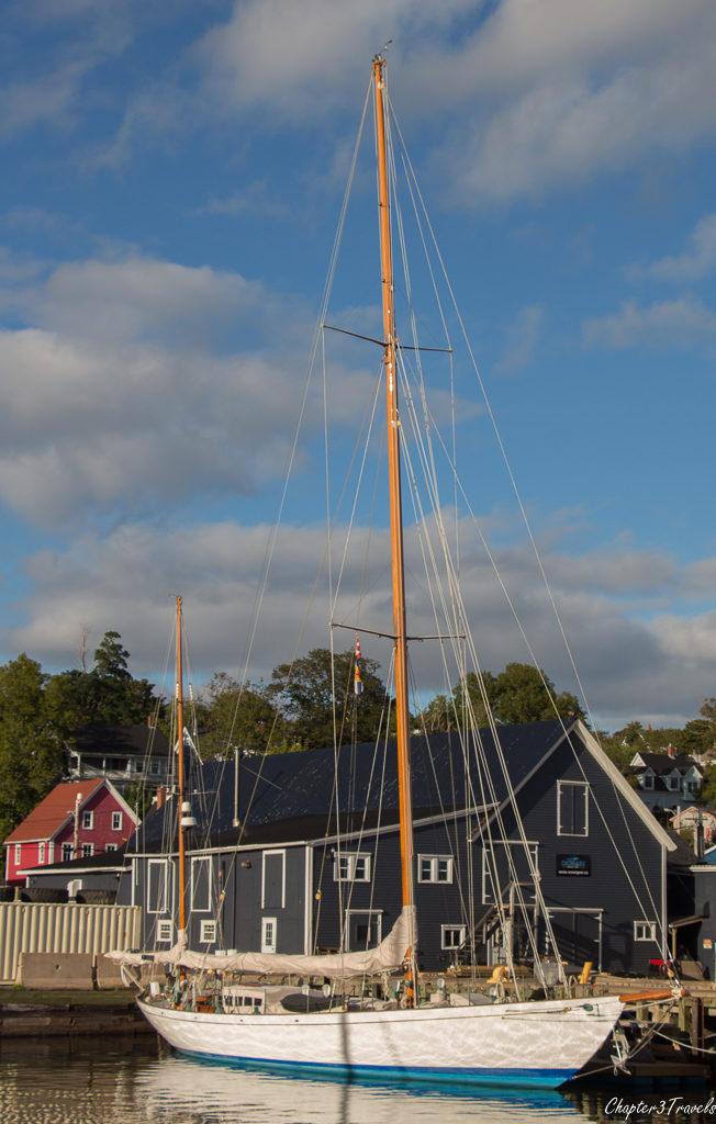 A private sailboat in Lunenburg, Nova Scotia