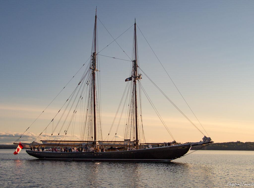 The Bluenose II sailing in the waters near Lunenburg, Nova Scotia