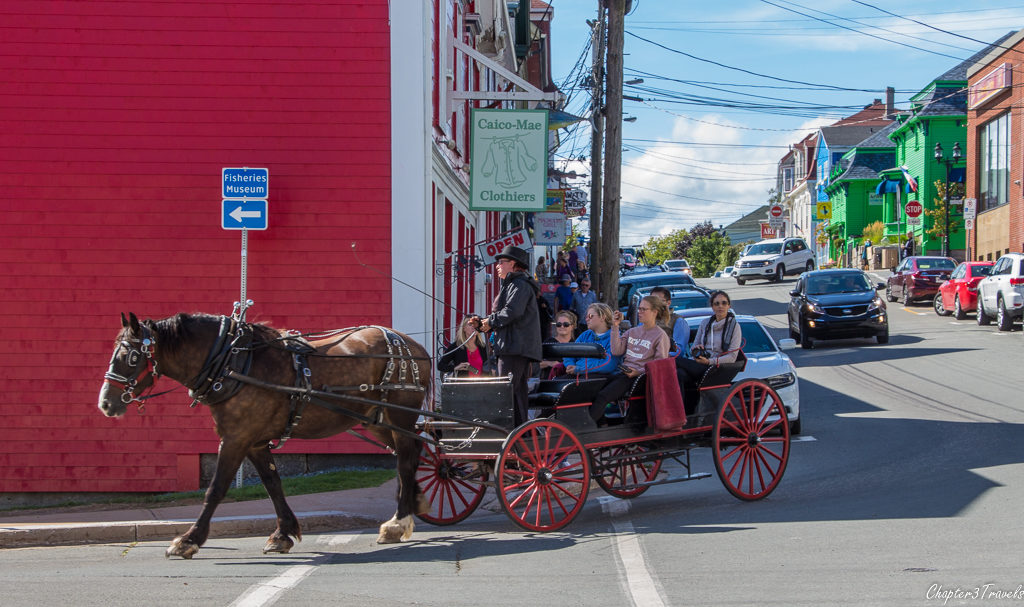 Horse drawn carriage on streets of Lunenburg, Nova Scotia