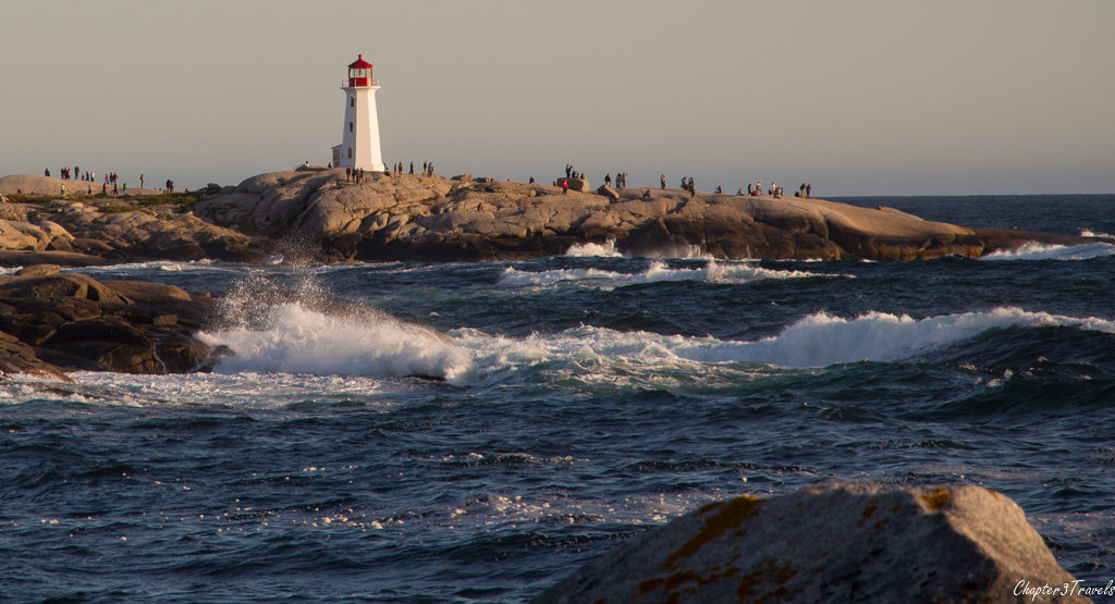 Heavy surf surrounding the lighthouse at Peggy's Cove