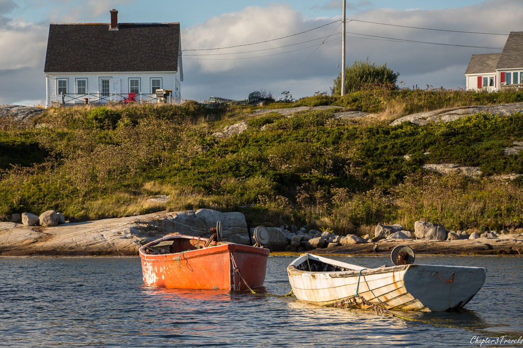 Row boats in the water at Peggy's Cove in Nova Scotia
