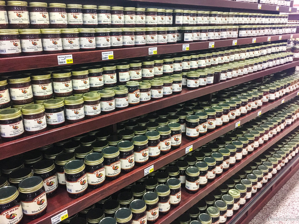 Jars of jam at Sauders Country Store in Seneca, Falls New York