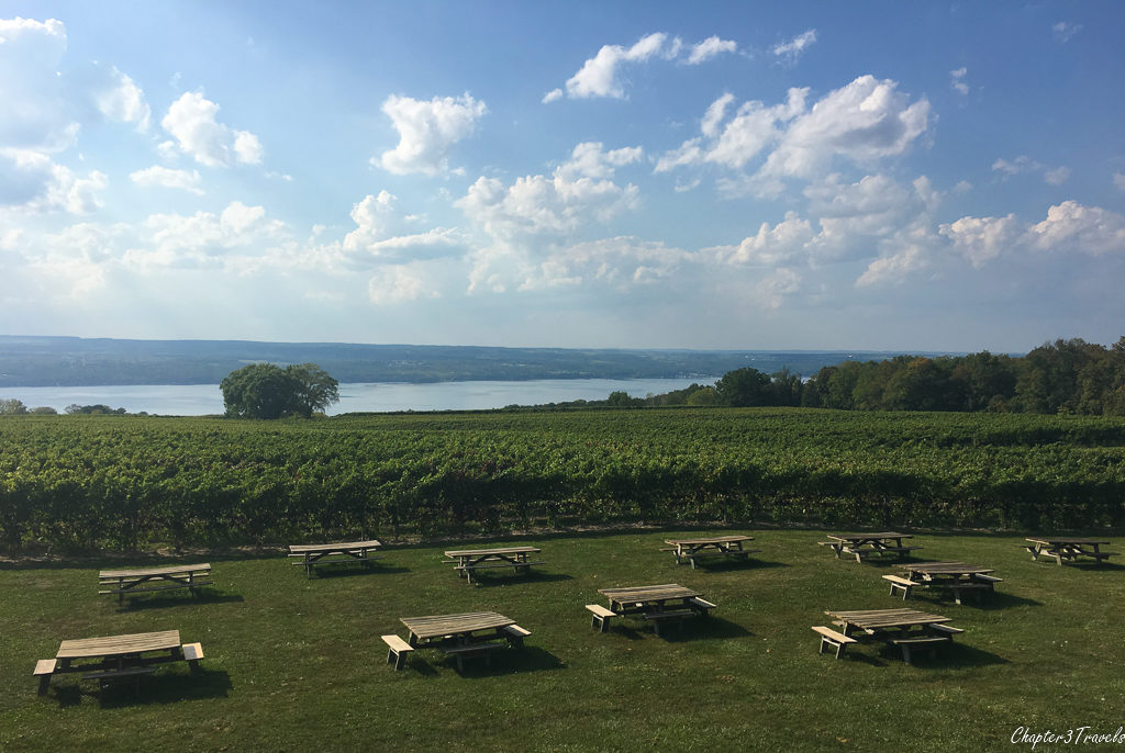 Empty picnic tables next to Seneca Lake at Wagner Winery